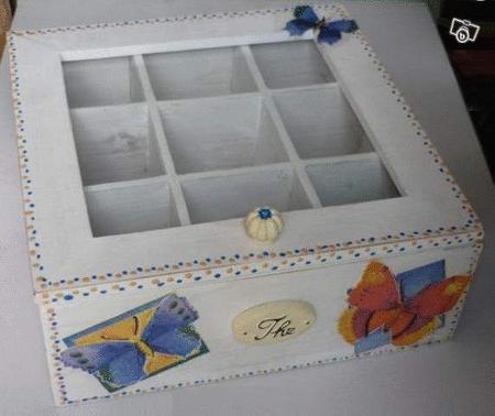 Achat : Boite a the ou tisane decor artisanal  (Boîtes - coffrets) - Boîtes - coffrets neuf et d'occasion - Achat et vente
