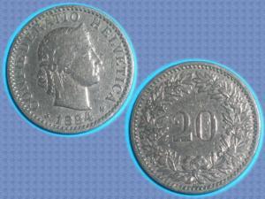 Pièce suisse - 20 rappen - 1884