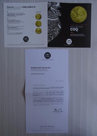 Achat : Dépliant monnaie de paris coq 1000 € or 2015  (Pièces) - Pièces neuf et d'occasion - Achat et vente