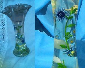 Vase bougie fleurs incrustées