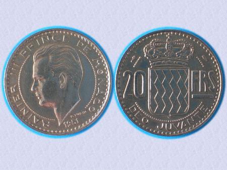 Achat : Belle piece - monaco - 20 f - 1951 - rainier iii  (Pièces) - Pièces neuf et d'occasion - Achat et vente