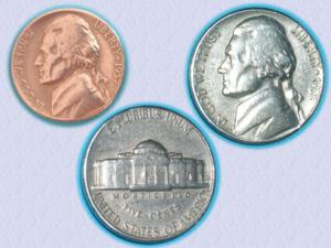 Superbe piece : usa – five cents – jefferson– 1957