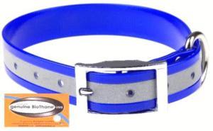 Collier fluo réfléchissant 25 mm bleu