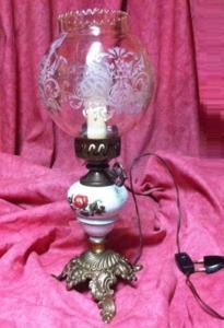 Lampe à poser, lampe de chevet, en laiton vieilli