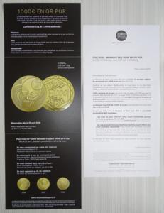 Dépliant monnaie de paris le coq 1000 € or 2016