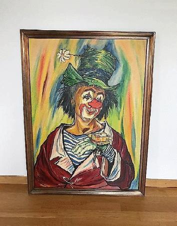 Achat : Clown orginal crazy w. schärer signé 1990  (Peintures pastels) - Peintures pastels neuf et d'occasion - Achat et vente