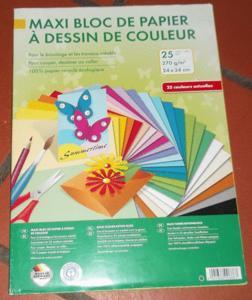 Loisirs créatifs - bloc papier à dessin de couleur