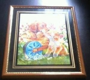 Cadre tableau chiot chaton reflets alu argent (neu