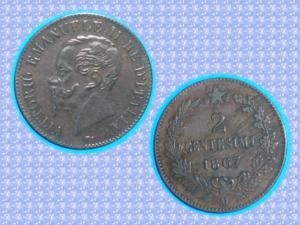 Piece - italie - 1867 - 2 centesimi - victor emman