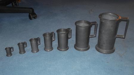 Achat : Lot de 7 pichets de mesure anciens en étain massif  (Autres objets décoratifs) - Autres objets décoratifs neuf et d'occasion - Achat et vente