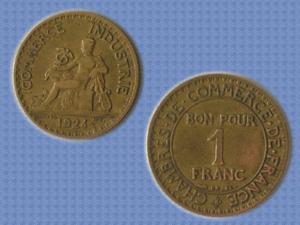 Piece tbe - 1924 - bon pour 1f - iiie république