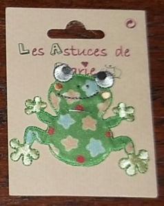 Autocollant brodé : grenouille