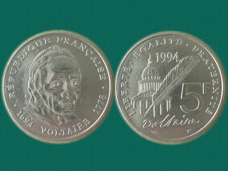 Achat : Piece 5 f - 1994 - commemo 300 ans naiss. voltaire  (Pièces) - Pièces neuf et d'occasion - Achat et vente
