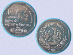 Piece 2 f – 1998 - droits de l'homme - ttbe