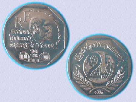 Achat : Piece 2 f – 1998 - droits de l'homme - ttbe  (Pièces) - Pièces neuf et d'occasion - Achat et vente